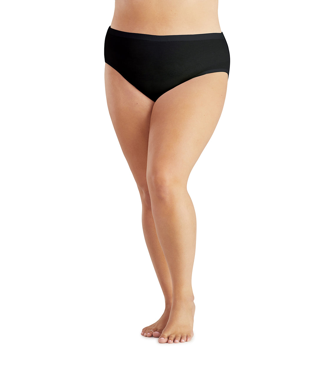 Junowear Hush Midrise Brief-Plus Size Underwear & Intimates-Hop Wo Trading Co Ltd-1X-Black-JunoActive
