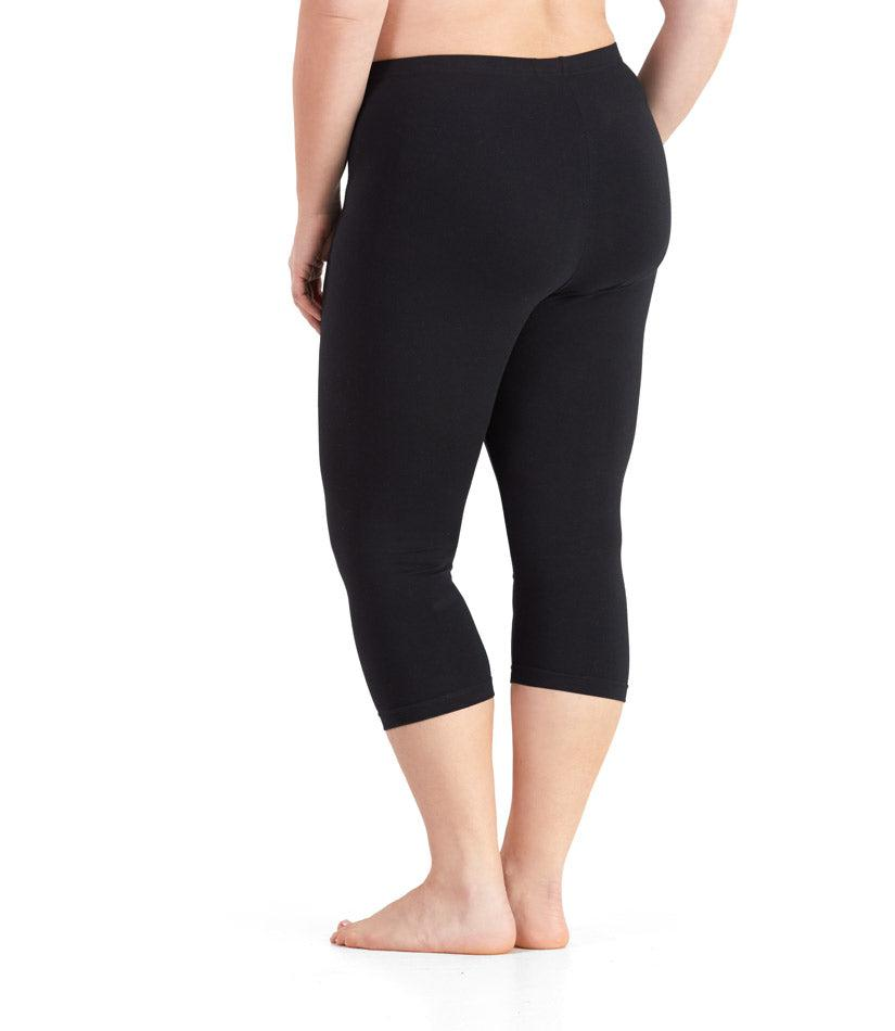 plus size leggings black capri