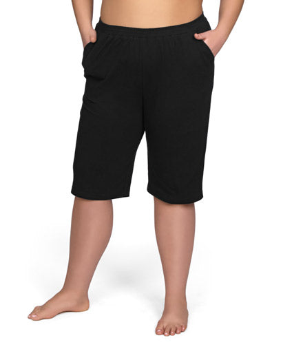 women's plus size shorts with pockets black