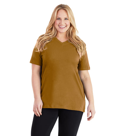 Stretch Naturals Basic Tee-Plus Size Activewear & Athletic Clothing-Paddy Lee-XL-Mustard-JunoActive