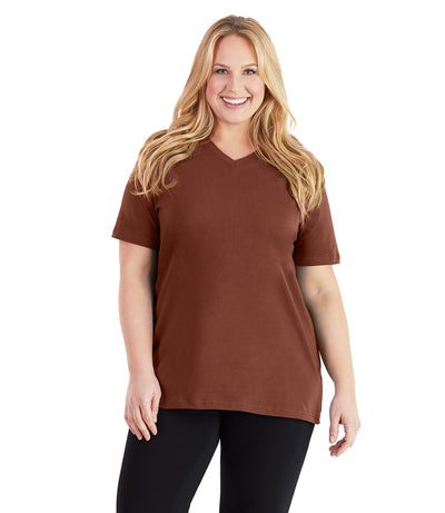Stretch Naturals Basic Tee-Plus Size Activewear & Athletic Clothing-Paddy Lee-XL-Rust-JunoActive