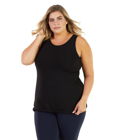 plus size tank tops long black