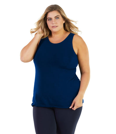 Stretch Naturals Crossback Tank With Bra-Plus Size Activewear & Athletic Clothing-Paddy Lee-6X-BLUE-JunoActive