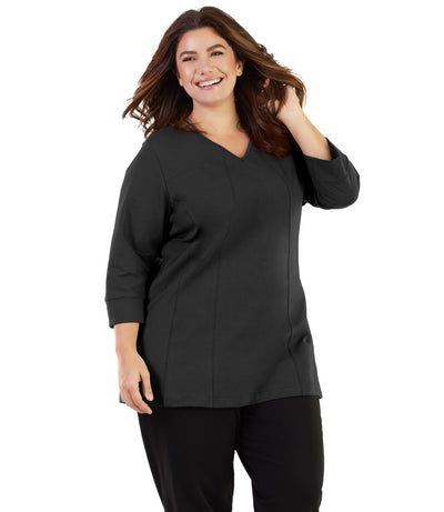 women's plus size top tunic black