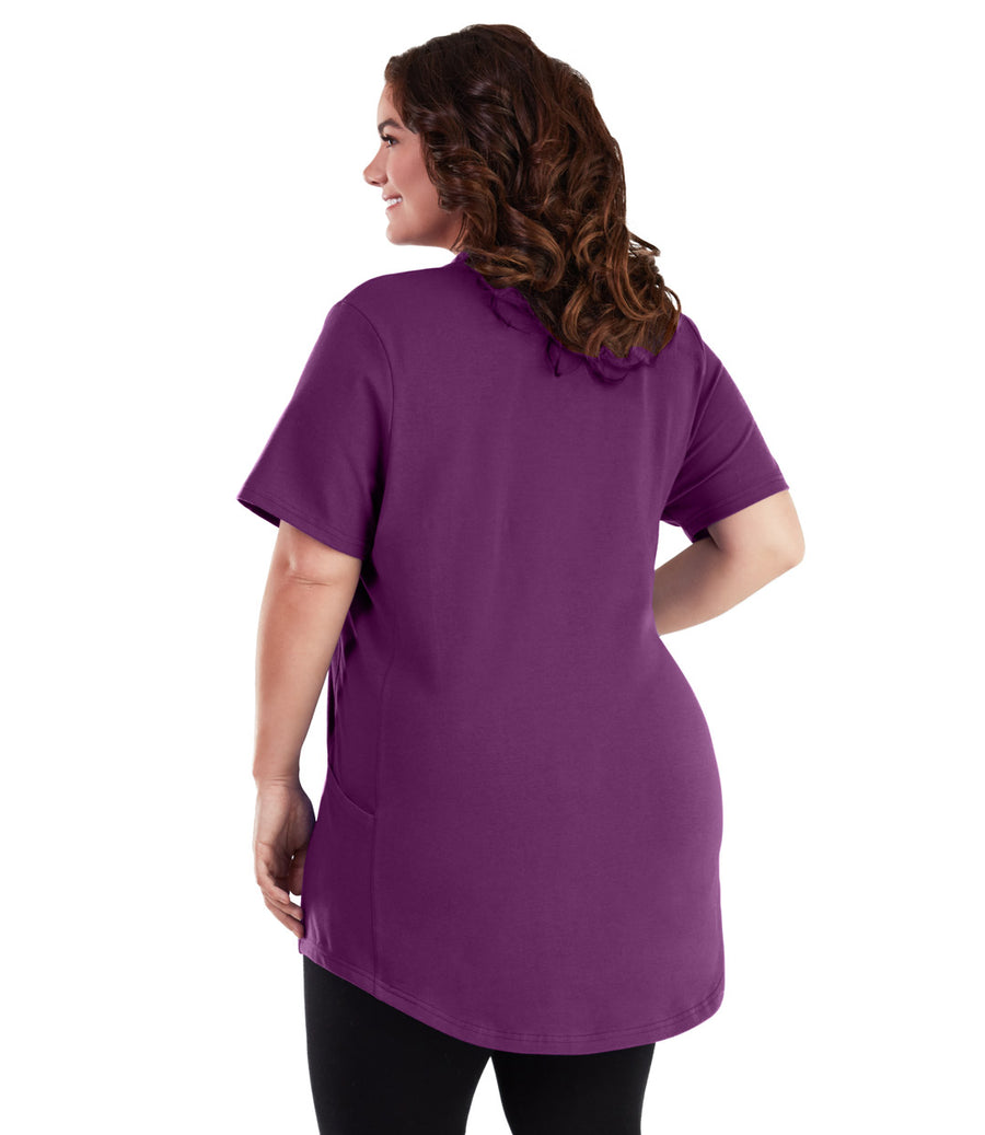 Stretch Naturals Cross Collar Short Sleeve Top