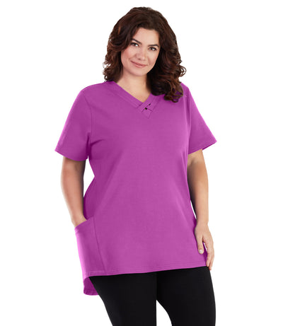 Stretch Naturals Cross Collar Short Sleeve Top - JunoActive