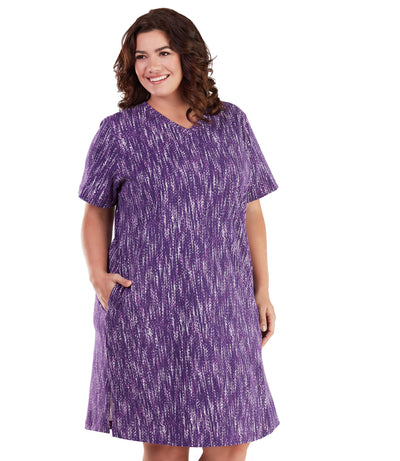 Stretch Naturals Short Sleeve V-Neck Dress-Plus Size Activewear & Athletic Clothing-Paddy Lee-JunoActive