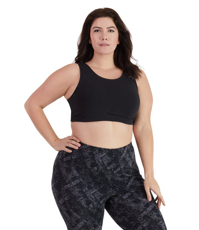 UltraKnit™ Scoop Bra in Regular and Full Fit-Plus Size Underwear & Intimates-Paddy Lee-Full-1X-Black-JunoActive
