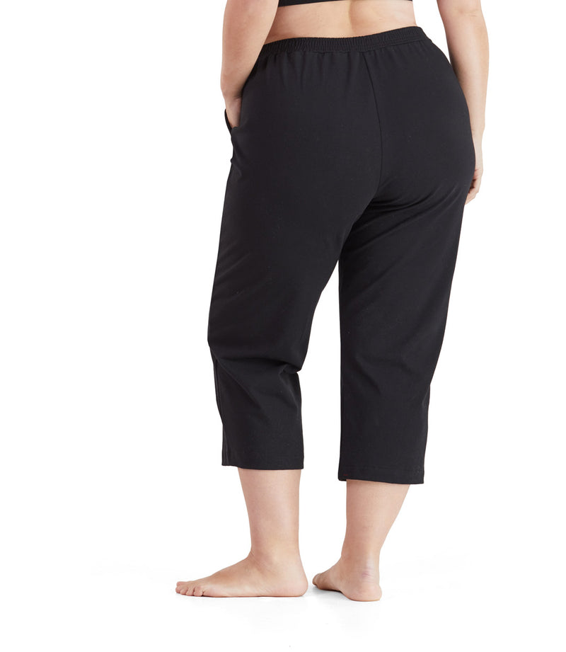 plus size yoga pant capri black