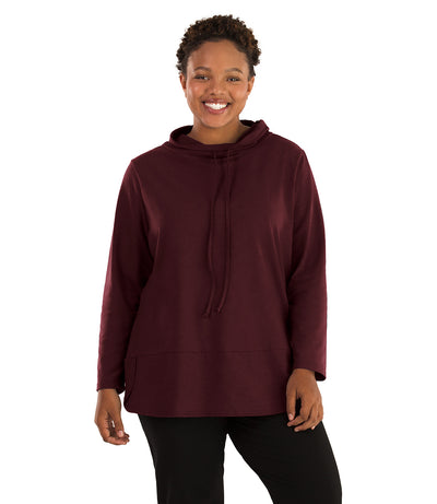 Stretch Naturals Cowl Top-Plus Size Activewear & Athletic Clothing-Paddy Lee-XL-Elderberry-JunoActive