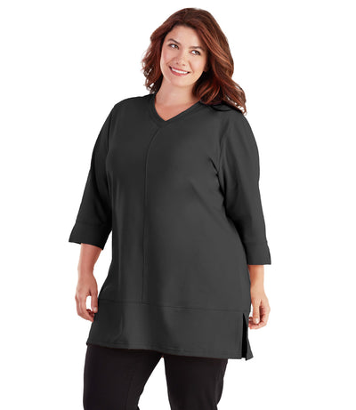 women's plus size activewear  yoga top black
