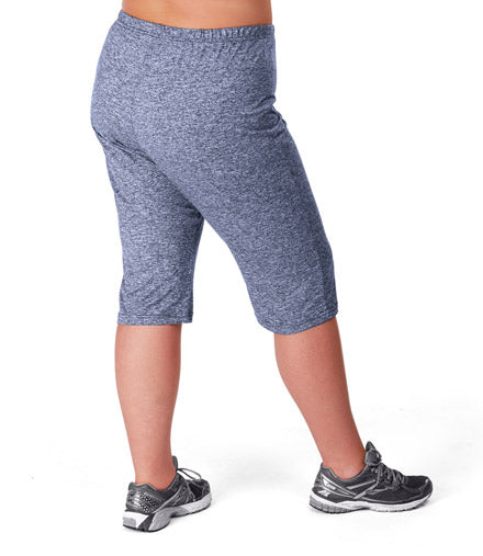 SoftWik Relaxed Capris In Heather Navy - JunoActive