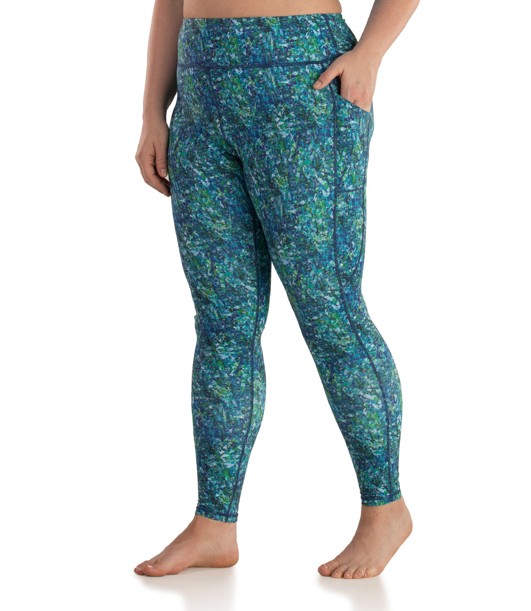 Printed Side Pocket Legging-Plus Size Activewear & Athletic Clothing-Osheka, Inc-JunoActive