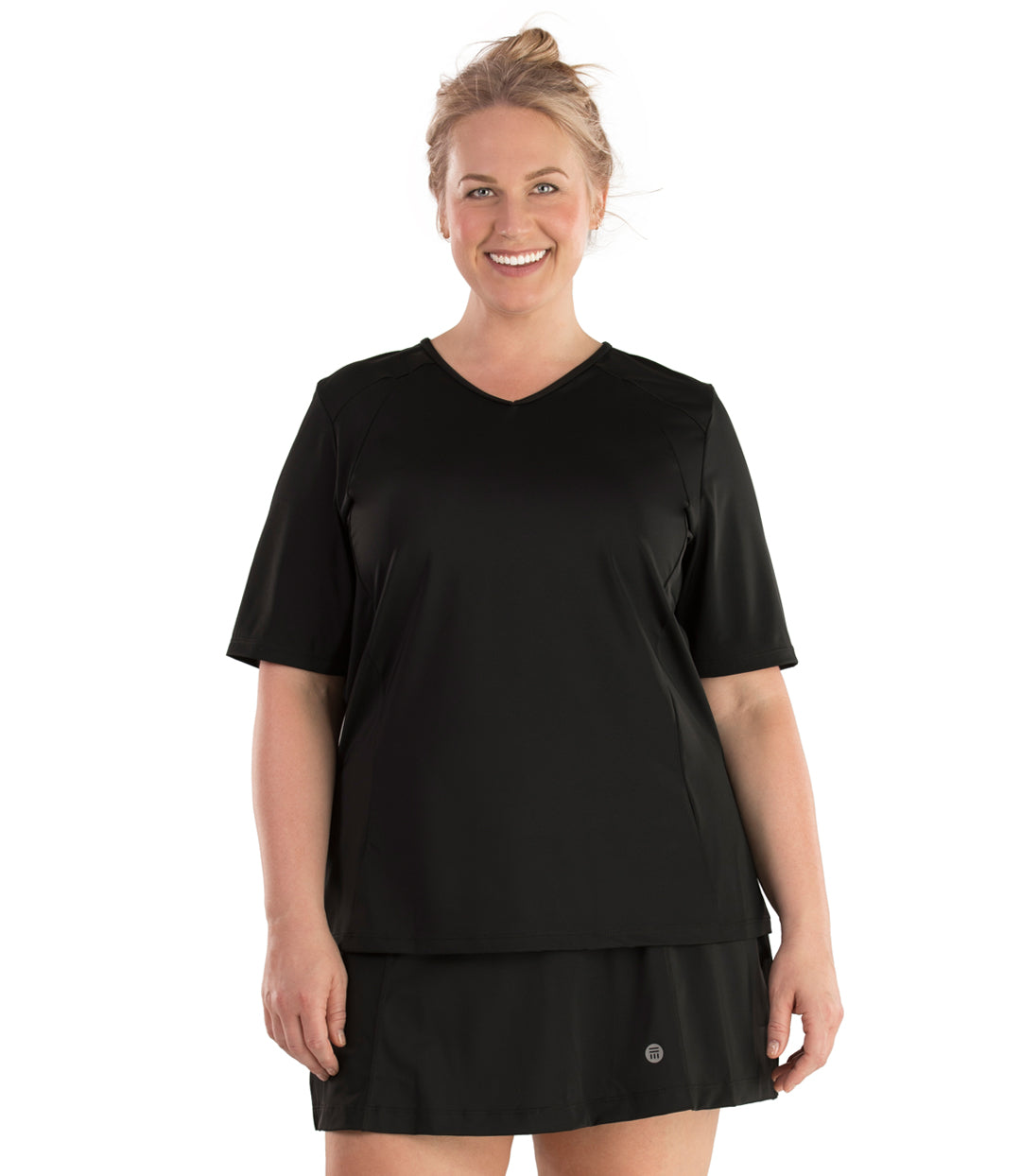 QuikEnergy™ Swim Rash Guard-Plus Size Swimwear and Swim Separates-HB Diseno Y Confeccion-1X-Black-JunoActive
