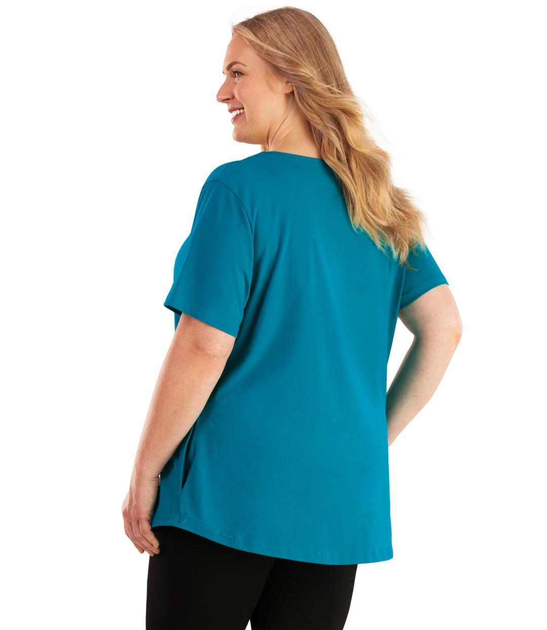 Stretch Naturals Lite Pocket Tee-Plus Size Activewear & Athletic Clothing-Hop Wo Trading Co Ltd-XL-TEAL-JunoActive