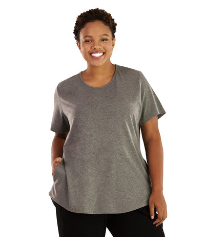Stretch Naturals Lite Pocket Tee-Plus Size Activewear & Athletic Clothing-Hop Wo Trading Co Ltd-XL-GREY-JunoActive