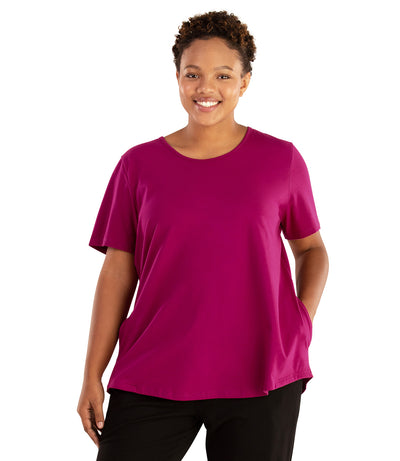 Stretch Naturals Lite Pocket Tee-Plus Size Activewear & Athletic Clothing-Hop Wo Trading Co Ltd-XL-MAGENTA-JunoActive
