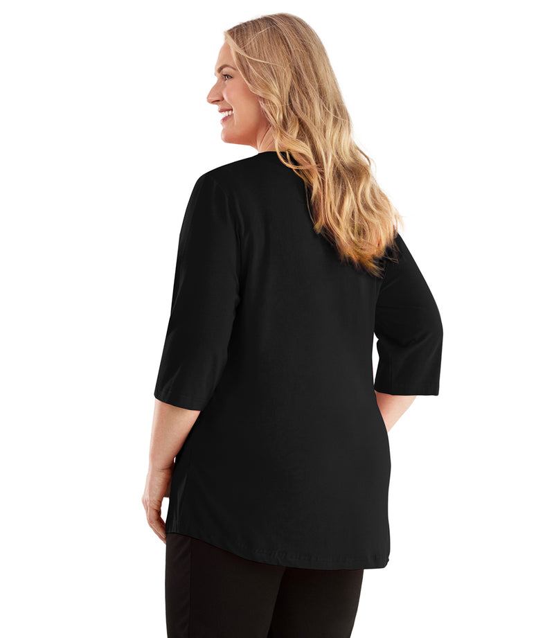 Stretch Naturals Vee Neck Top-Plus Size Activewear & Athletic Clothing-Hop Wo Trading Co Ltd-XL-BLACK-JunoActive
