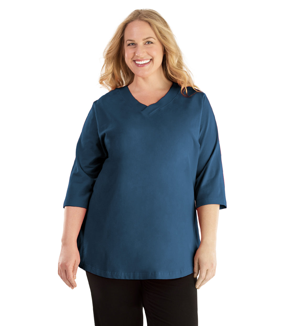 Stretch Naturals Vee Neck Top-Plus Size Activewear & Athletic Clothing-Hop Wo Trading Co Ltd-XL-FRENCH BLUE-JunoActive