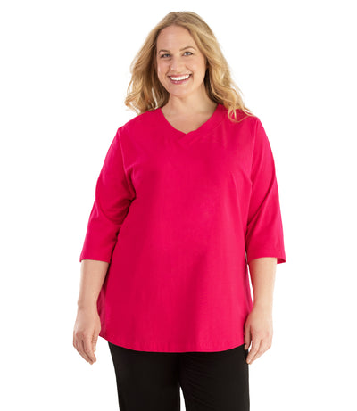 Stretch Naturals Vee Neck Top-Plus Size Activewear & Athletic Clothing-Hop Wo Trading Co Ltd-XL-LIPSTICK PINK-JunoActive