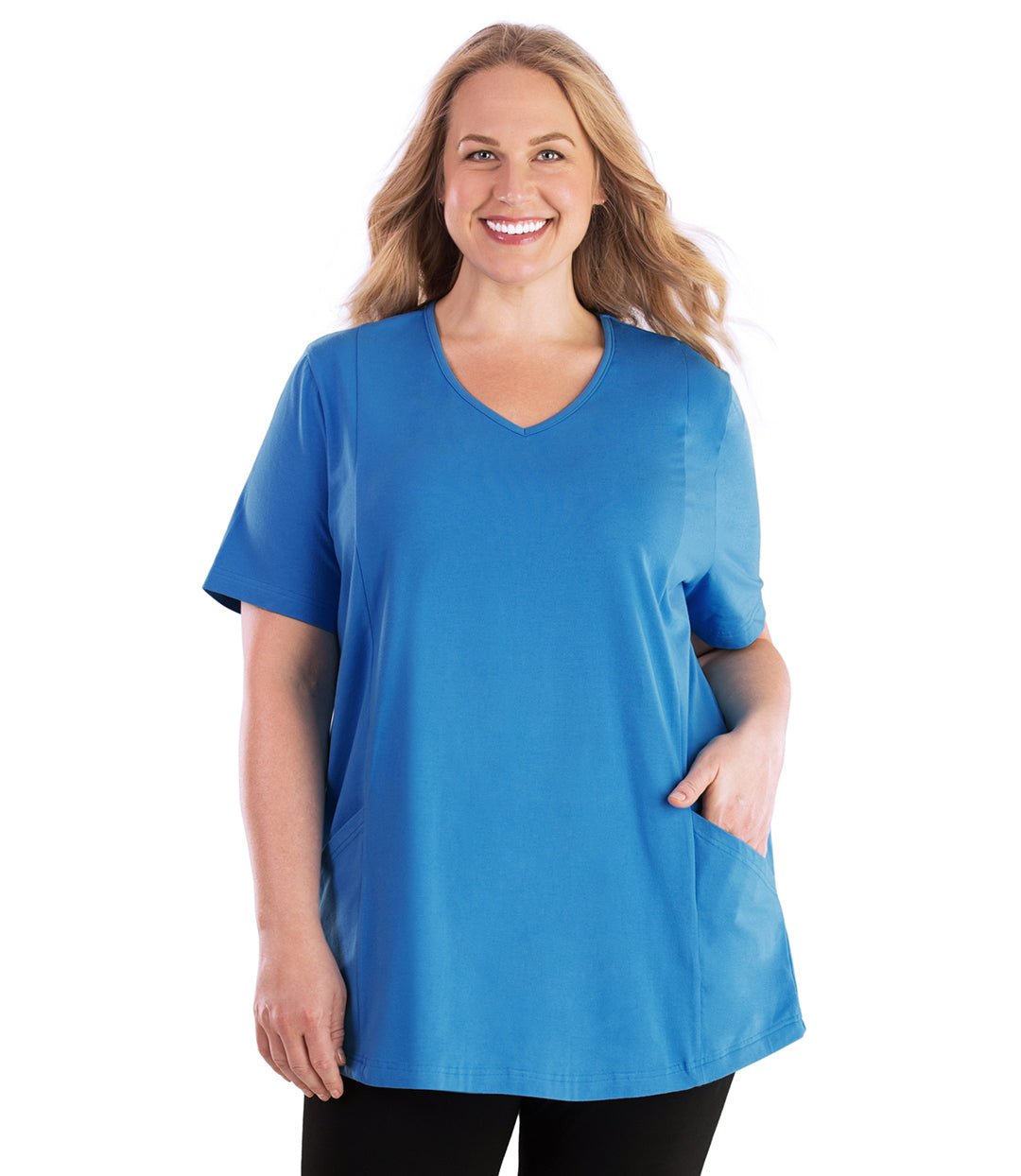 Stretch Naturals Pocketed V-neck Short Sleeve Top-Plus Size Activewear & Athletic Clothing-Hop Wo Trading Co Ltd-1X-Dutch Blue-JunoActive