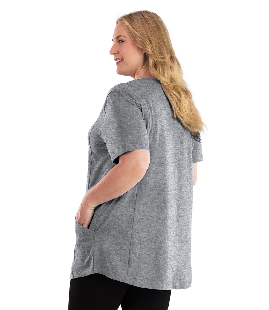 Stretch Naturals Pocketed V-neck Short Sleeve Top-Plus Size Activewear & Athletic Clothing-Hop Wo Trading Co Ltd-1X-Heather Grey-JunoActive