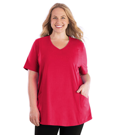 Stretch Naturals Pocketed V-neck Short Sleeve Top-Plus Size Activewear & Athletic Clothing-Hop Wo Trading Co Ltd-1X-Rosette-JunoActive