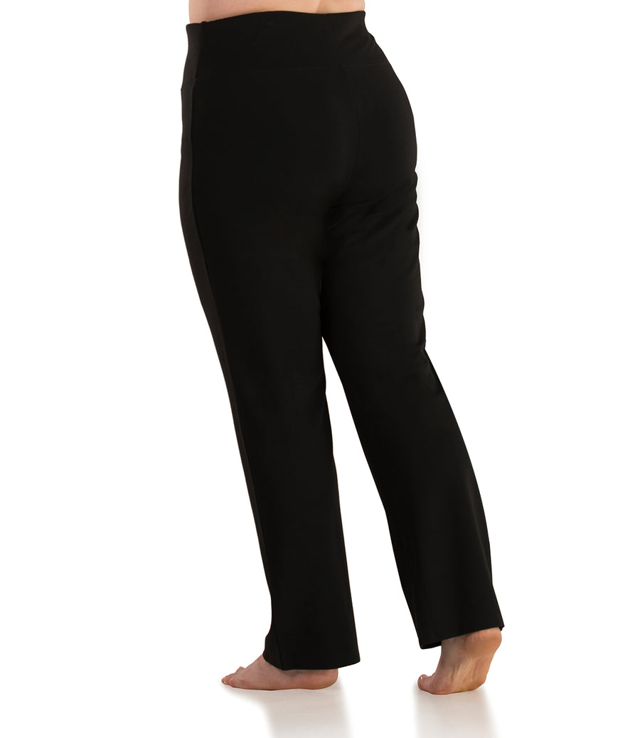 QuikFlex™ Yoga Pant Straight Leg Plus Size Active Pant-Plus Size Activewear & Athletic Clothing-Hop Wo Trading Co Ltd-XL-Average-Black-JunoActive