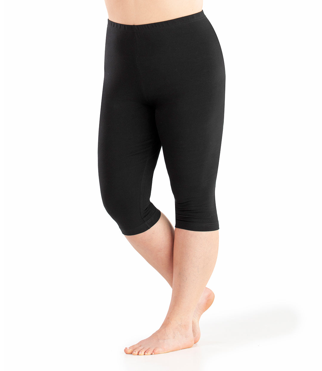Stretch Naturals Below the Knee Capris-Shop by Activity-Hop Wo Trading Co Ltd-XL-Black-JunoActive