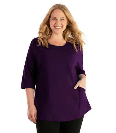 Stretch Naturals Pocketed Top-Plus Size Activewear & Athletic Clothing-Hop Wo Trading Co Ltd-XL-DEEP PURPLE-JunoActive