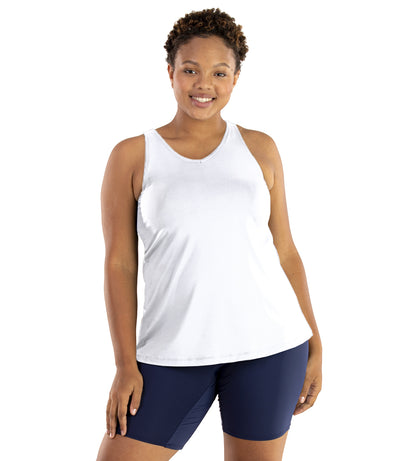 Junowear Hush V-Neck Tank with Bra-Plus Size Underwear & Intimates-Hop Wo Trading Co Ltd-1X-WHITE-JunoActive