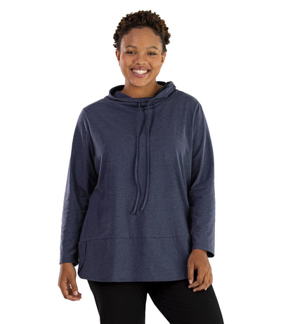 Stretch Naturals Cowl Top-Plus Size Activewear & Athletic Clothing-Paddy Lee-XL-DENIM BLUE-JunoActive