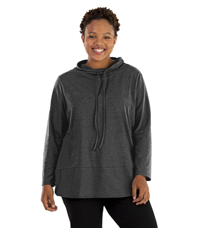 Stretch Naturals Cowl Top-Plus Size Activewear & Athletic Clothing-Paddy Lee-XL-HEATHER CHARCOAL-JunoActive