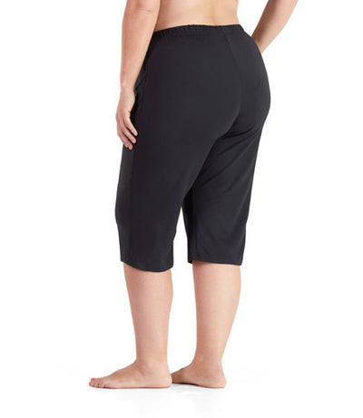 SoftWik Relaxed Capris In Black - JunoActive