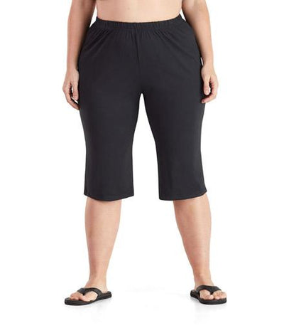 SoftWik® Relaxed Capris-Plus Size Activewear & Athletic Clothing-Osheka, Inc-1X-Black-JunoActive