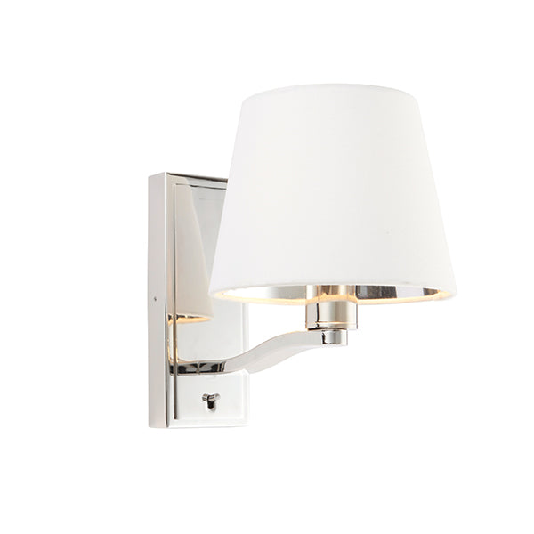 White Wall Light with Nickel Base