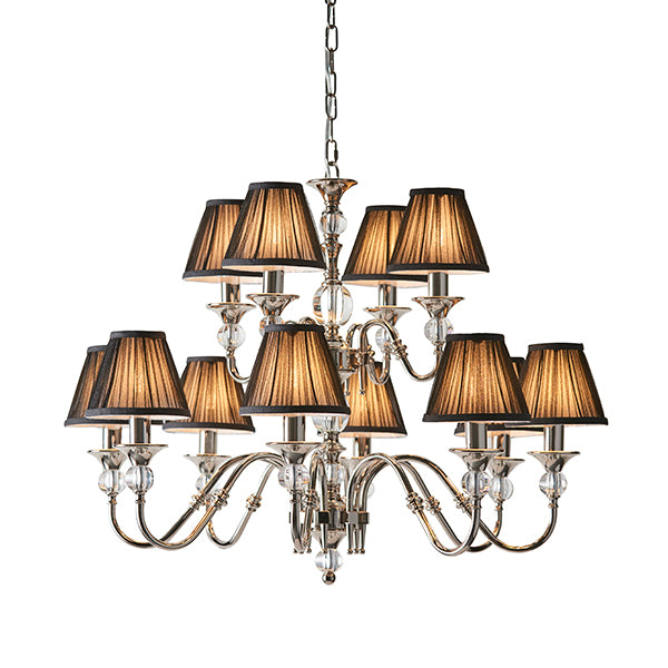 Polina Nickel 12 Light Chandelier with Beige/Black Shades