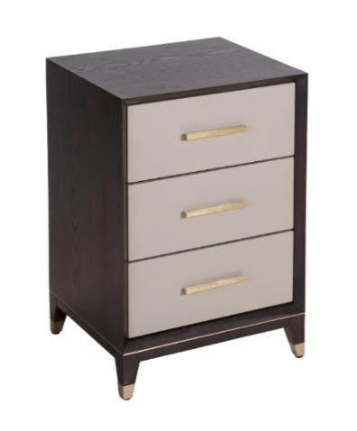 3 Drawer Ceramic Grey and Chocolate Bedside Table