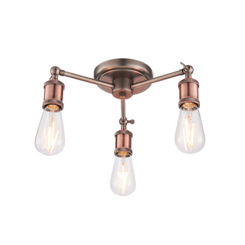 3 Light Copper Plated Ceiling Lamp