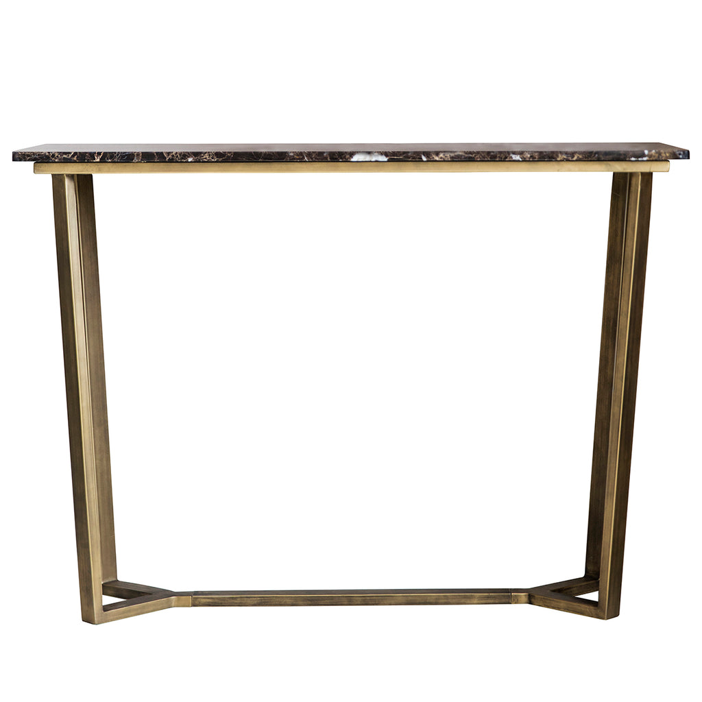 Rich Brown Marble Console Table