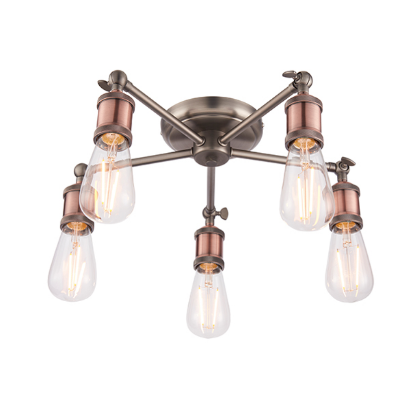 5 Light Copper Plated Ceiling Lamp