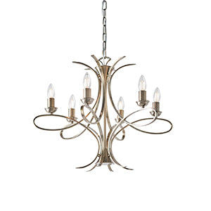 Nickel/Brass 6 Light Chandeliers