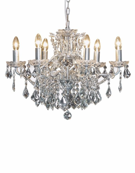 6 Light Shallow Antique Silver Chandelier