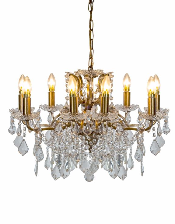 Brushed Gold 8 Branch Shallow Glass Chandelier