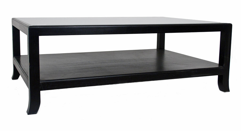 2 Layer All Black Coffee Table with Glass Top