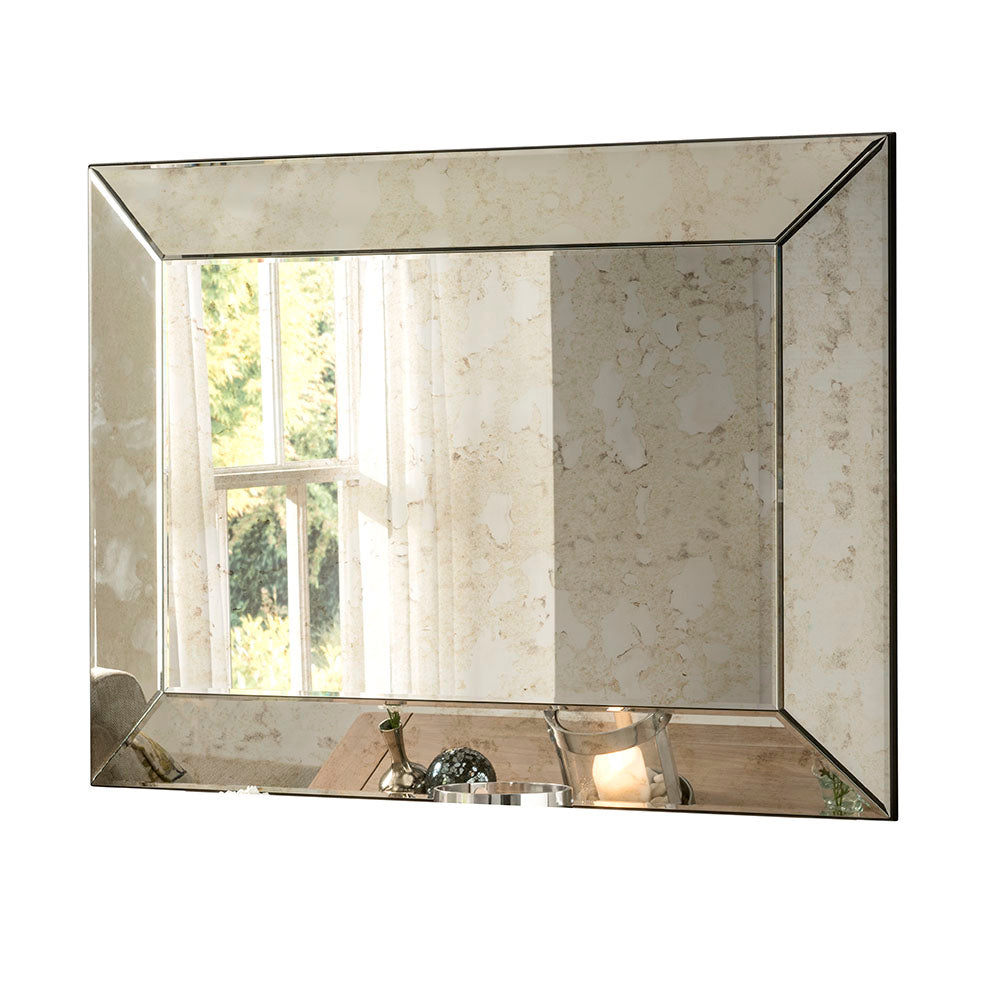 Antique Silver Bevelled Edge Wall Mirror