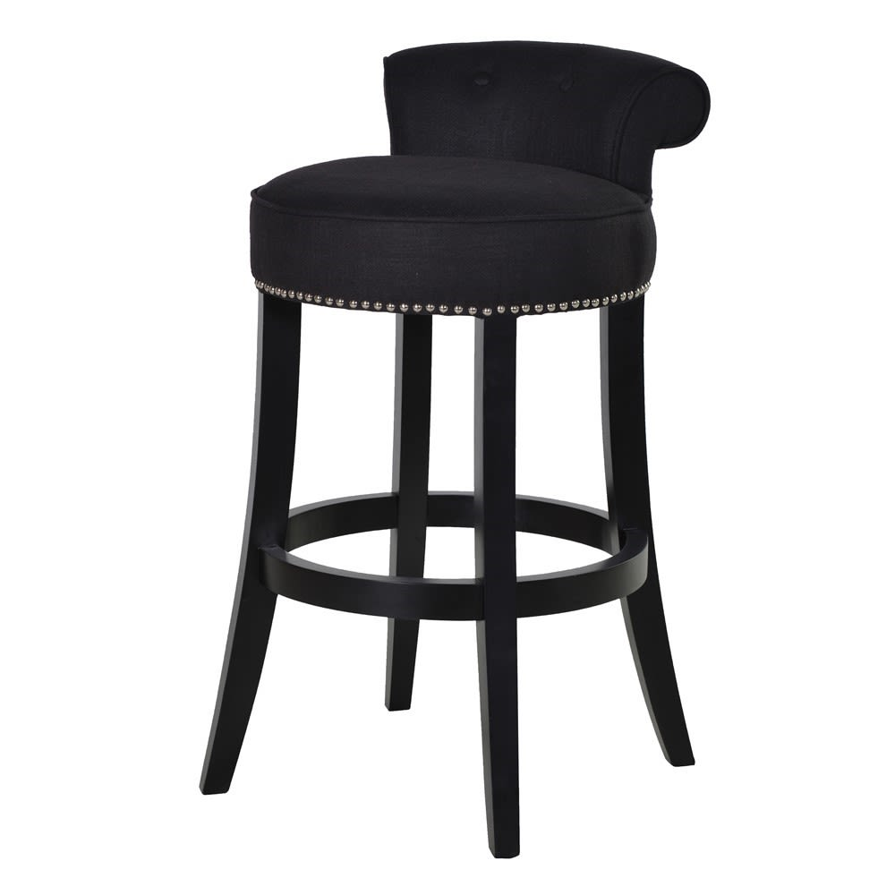 Black Upholstered Roll Top Bar Stool
