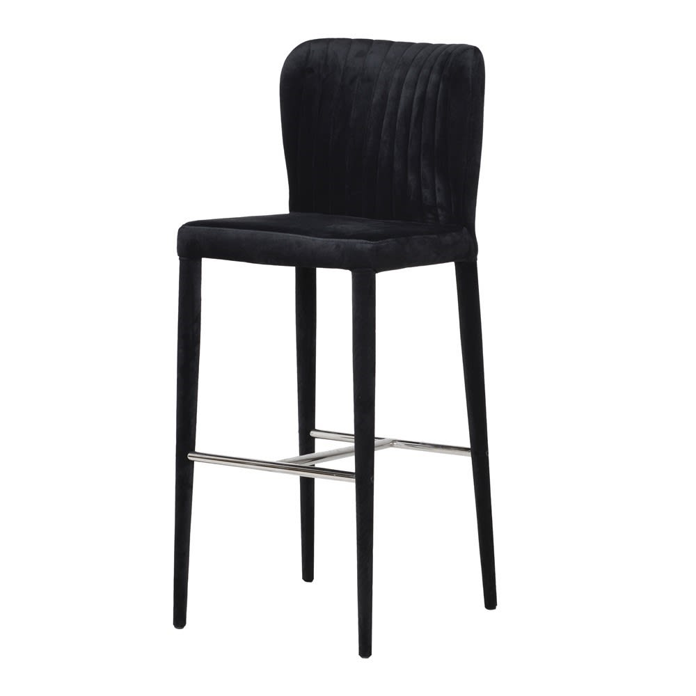 Chrome & Black Velvet Bar Stool