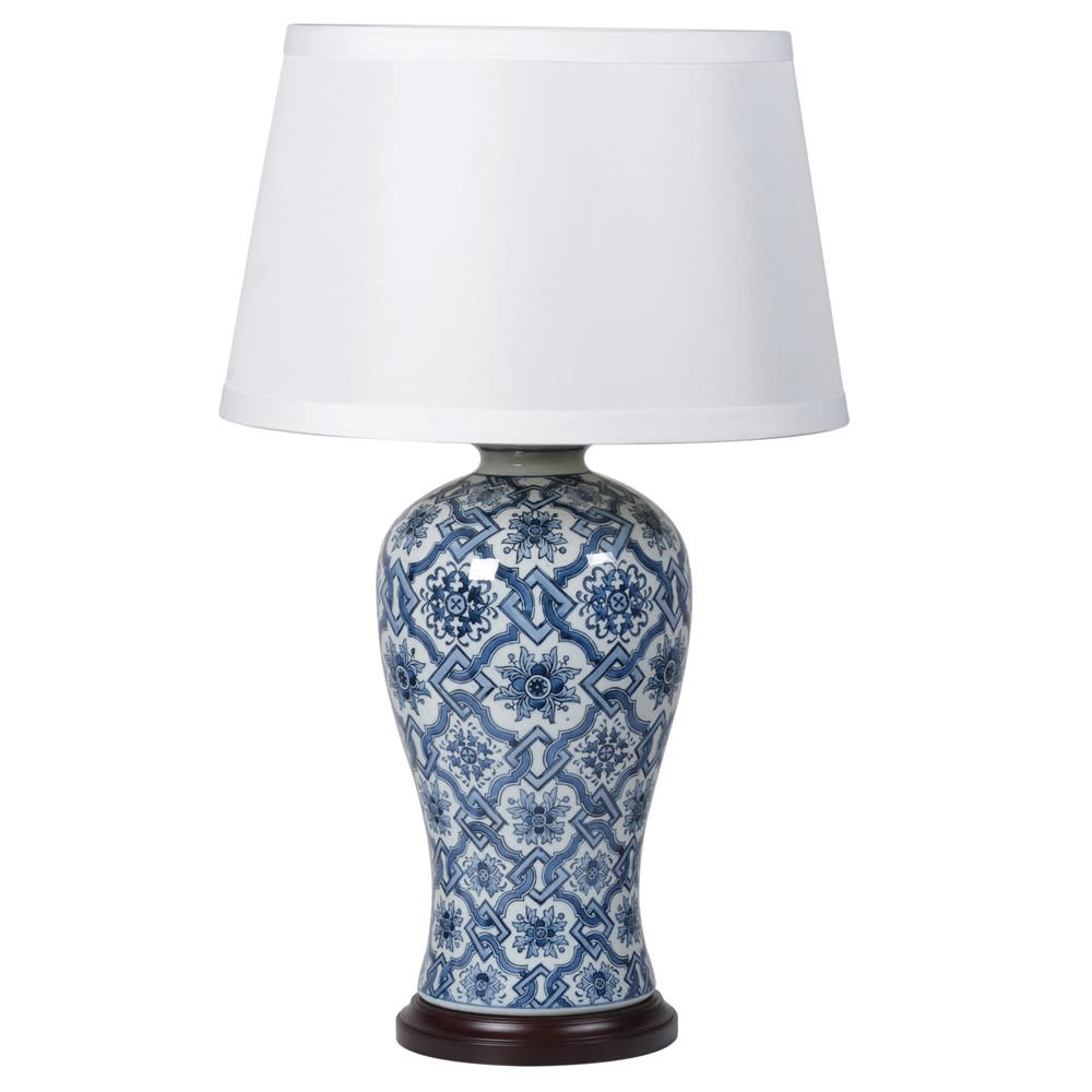 Blue Ceramic China Jar Lamp with Shade