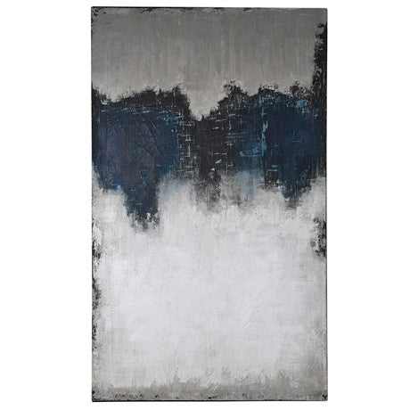 Blue and White Extra Large Abstract Canvas